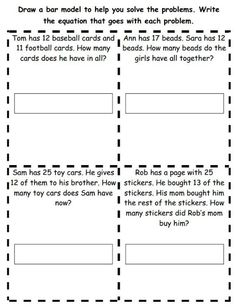 Bar Models Math Worksheets - Worksheets