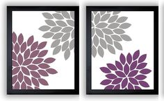 Flower Print Grey Gray Purple Plum Chrysanthemum Flowers Art Print Wall Decor Modern Minimalist Bathroom Bedroom on Etsy,