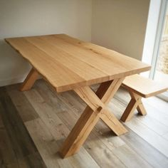 Solid Oak Dining Room Table Luxury Cross Leg solid Oak Dining Table Handmade In the Uk In Oak Dining Room, Diy Dining Room Table, Solid Oak Dining Table, Reclaimed Wood Dining Table, Dining Table With Bench, Wooden Dining Tables, Oak Table, Decoration, Furniture