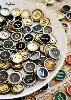 DIY info on using vintage type writer keys to make jewelry