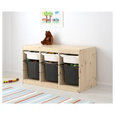 TROFAST Storage combination with boxes, light white stained pine white, black, cm - IKEA Ikea Trofast, Toy Storage, Storage Boxes, Drawer Rails, Ikea Kids, Kiefer, Ikea Furniture, Child Room, Kid Furniture