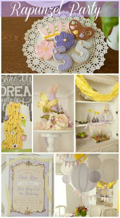 Wait until you see all the great party ideas at this Rapunzel/Tangled girl birthday party, including gorgeous cookies and birthday cake! See more party ideas at CatchMyParty.com. #girlbirthday #rapunzel #tangled #birthdaycake #partydecorations
