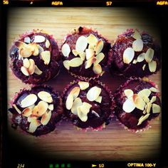 Nectarine apricot and almond muffins