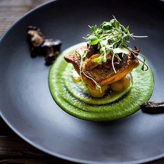 Crispy skinned stealhead, baby new potatoes, mushrooms, & truffled spring pea sauce. ✅ By - @feastingathome ✅ #ChefsOfInstagram
