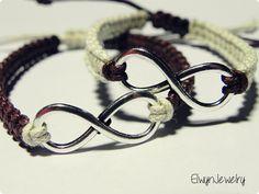 Infinity Bracelets, Couples Bracelets, Matching Bracelets, Long Distance Relationship, His Hers Gifts, Friendship Bracelet, Brown Ivory Cord