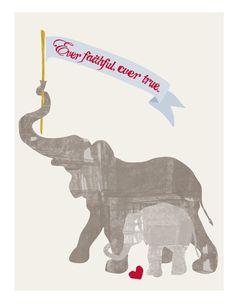 Personalized Nursery Room Elephant Illustration by ONEELM on Etsy, $28.00