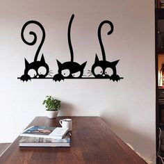 Neoteric Cat Wall Decor D I Y Three Sticker Removable Living Room Art Vinyl Image Loading Decorative Hook Head Silhouette Shelf Tail Tile Picture Nursery Wall Painting Living Room, Wall Painting Decor, Living Room Murals, Room Wall Decor, Creative Wall Painting, Bedroom Wall Designs, Wall Art Designs, Diy Wand, Wall Decor Stickers