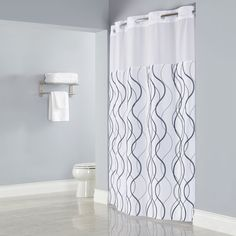 """Hookless White with Grey Waves Shower Curtain with Matching Flat Flex-On Rings, It's A Snap! Polyester Liner with Magnets, and Poly-Voile Translucent Window - 71"""" x 77"""""""