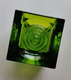 Viking Art Glass Green Bullseye Cube Candle Holder Votive Vintage MCM  | eBay