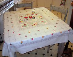 Vintage Tablecloth Fruit Blocks & Victorian by unclebunkstrunk