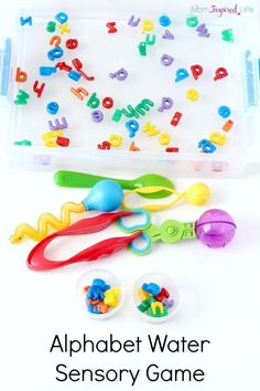 Alphabet water sensory game. Kids will learn letter names while participating in this water sensory play activity.