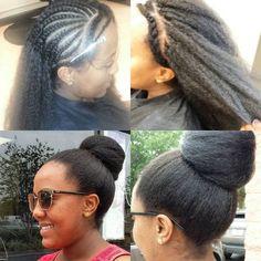 Italian yaki hair, very full and thick!!! Crochet braids and wefts sewn to make bun!!