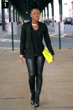 All black outfit with an unexpected #neon clutch and a #gold choker necklace