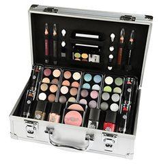 Schmink-Koffer Coffret maquillage Mallette en aluminium 51 pièces: Malette de 51 pièces Vernis, Rouge à lèvre, fard à jour, fard à…