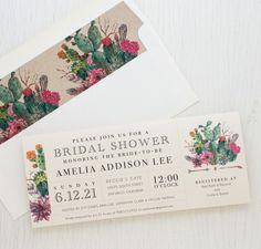 Desert Blooms Boho Style Bridal Shower Invite with Matching Envelope Liner!