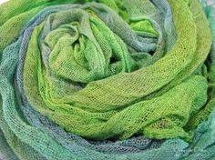 Hand Dyed Cotton Scrim Dark Green Light Green by LindaMatthews