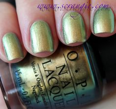 """Scrangie: """"OPI Just Spotted The Lizard. A golden-green chrome with blue, aqua/teal and pure green duochrome. Shiny metallic finish, slightly brushstroke-prone. Chanel Péridot dupe."""""""