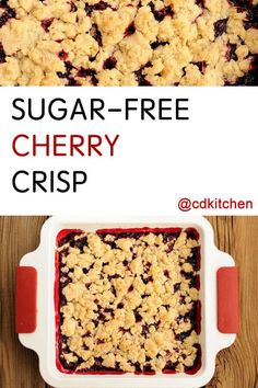 This from-scratch dessert is a real treat for anyone watching their sugar intake. It definitely doesn't taste sugar-free! Sugar Free Deserts, Sugar Free Fruits, Sugar Free Sweets, Low Carb Deserts, Sugar Free Cookies, Sugar Free Recipes, Bar Cookies, Diabetic Friendly Desserts, Healthy Desserts