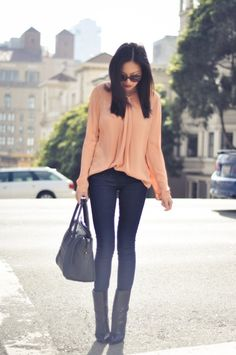 Really like the color of this peachy blouse and its lovely drape. Perfectly with skinny jeans.