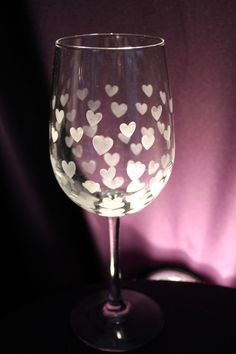 Valentine's Day Hearts Etched Wine Glass - Hearts Design by ItsWineTimeDesigns on Etsy https://www.etsy.com/listing/265299631/valentines-day-hearts-etched-wine-glass