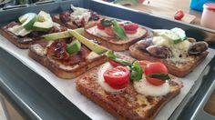 Sunday morning breakfast french toast assortment with bacon Danish 'medister' mozzarella cheddar basil and avo [OC][5312  2988]