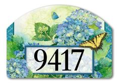 """Hydrangea Park Address Sign by MagnetWorks. $15.95. Magnetic address plaques measure 14"""" x 10"""".. Address plaques attach to metal Yard DeSigns Stake]:popup=http://www.flagsonastick.com/product/H100/. Magnetic address sign by Yard DeSigns is screen-printed and vinyl coated for vivid long-lasting color and is reuseable. Address signs includes 2 sets of adhesive address house numbers.Yard DeSigns registered trademark of Magnet Works, Ltd."""