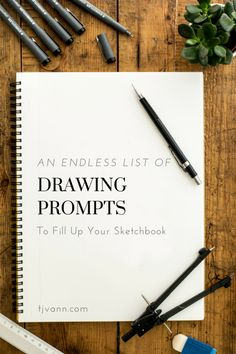 An Endless List of Drawing Prompts to Fill up your Sketchbook by TJ Vann - Sketchbook Inspiration - Art Doodle Drawing, Drawing Prompt, Drawing Lessons, Drawing Tips, Drawing Tutorials, Art Tutorials, Art Lessons, Ideas For Drawing, Drawing Hair
