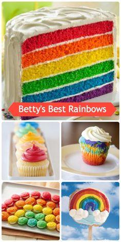 Betty's Best Rainbows for Pride! Rainbow Desserts, Rainbow Treats, Rainbow Food, Rainbow Stuff, Rainbow Cakes, Yummy Treats, Delicious Desserts, Sweet Treats, Dessert Recipes