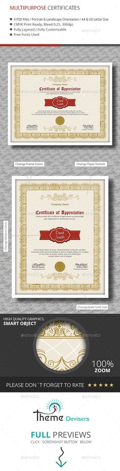 Certificate by themedevisers Modern Certificate Template. Use this Certificate Template in completion of any course, training or degree. Also you can use thi