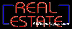 """Real Estate Neon Sign-10615-6158  13"""" Wide x 32"""" Tall x 3"""" Deep  110 volt U.L. 2161 transformers  Cool, Quiet, Energy Efficient  Hardware & chain are included  6' Power cord  For indoor use only  1 Year Warranty/electrical components  1 Year Warranty/standard transformers."""