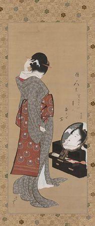Katsushika Hokusai - Woman looking  at herself in a mirror (1805)
