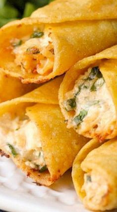 Cream Cheese and Chicken Taquitos Note: use Monterey Jack cheese and for salsa use a corn and black bean style salsa You will love these Cream Cheese and Chicken Taquitos filled with cream cheese, salsa, cheese, sour cream and spinach. Comida Latina, Mexican Dishes, Mexican Pizza, Mexican Meals, Tex Mex, I Love Food, Appetizer Recipes, Cream Cheese Recipes Dinner, Wonton Recipes