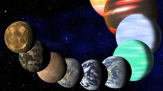 This artist rendering released Monday Jan. by Harvard-Smithsonian Center for Astrophysics shows the different types of planets in our Milky Way galaxy detected by NASA's Kepler spacecraft. A ne Sistema Solar, Carl Sagan, Cosmos, Super Earth, Alien Life Forms, Planetary System, Alien Planet, Planet Earth, Alien Worlds