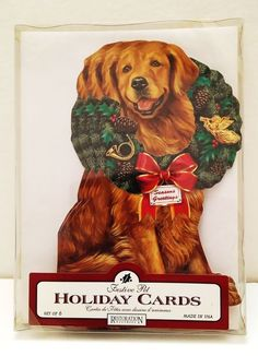 restoration hardware golden retriever dog shaped christmas holiday box cards