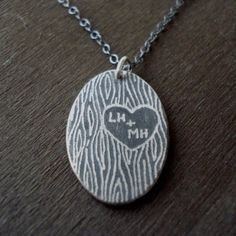 initials carved in a tree necklace