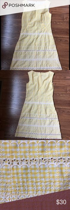 Vintage hand sewn yellow gingham dress Such a sweet dress! White embroider and eyelet detail and white and yellow check gingham.  Perfect for spring, Easter, summer BBQ or a picnic! Zipper in back.  Best fits a medium. Vintage Dresses Midi