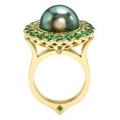 Ana de Costa Tahitian pearl tsavorite halo gold ring 2