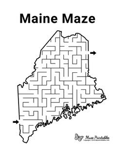 Mazes For Kids Printable, Free Printables, Maze Worksheet, Worksheets, Educational Activities, Preschool Activities, Activity Sheets For Kids, Geography For Kids, State Game