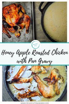 There is nothing better than a lazy Sunday with a chicken slow roasting in the oven.  This Honey Apple Roasted Chicken takes only a few hours to cook up.  Simple Recipes | Lunch Recipes | Dinner Recipes | Sunday Dinner | Weeknight Meals | Appetizers | messy cutting board recipe | Meal prep | Easy Prep recipe | Chicken recipe | How to Roast a Chicken | Roasted Chicken | Family Dinner | Butter | Make it simple | fancy and simple