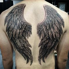 Angel Wings Back Tattoos - Best Back Tattoos For Men: Cool Back Tattoo Designs For Guys - Men's Upper, Lower, Full Back Tattoo Ideas Wing Tattoo Men, Wing Tattoos On Back, Small Back Tattoos, Cool Back Tattoos, Tattoo Son, Wing Tattoo Designs, Back Tattoos For Guys, Sleeve Tattoos For Women, Trendy Tattoos