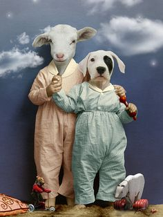 Dog & Sheep Anthropomorphic digital art.