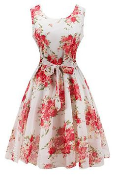 Graceful vintage dress is crafted from quality sheer chiffon and soft lining, patterned with red flowers, it looks so elegant and features a concealed zipper closure in back.  https://atomicjaneclothing.com/products/atomic-1950s-vintage-chiffon-belted-floral-valentines-day-dress