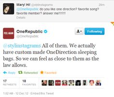 One Republic is from Colorado.......I will take literally any connection I can get between 1D even if that means a band from my home state tweeting ABOUT, not even to, my favorite band. -H