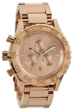 Rose Gold Watch - Nixon The 42-20 Chrono Watch in All Rose Gold,Watches for Unisex    List Price: $333.00  Price: 	$300.44  You Save: $32.56 (10%)        link:
