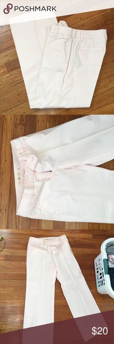"""J. Crew Pale Pink Chinos Sweet and soft Chino pants by J. Crew. Pale pink color, wide leg style. Tailored to 28"""" inseam for wearing flats. Size 0 regular. Very nice condition! J. Crew Pants Wide Leg"""
