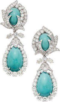 Turquoise, Diamond, Platinum Earrings, David Webb ... (Total: 2 Items)