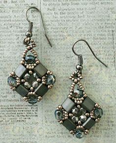 Layered Tila Earrings w/links to pattern  ~ Seed Bead Tutorials