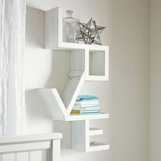 Shop Love Shelf from Pottery Barn Teen. Our teen furniture, decor and accessories collections feature fun and stylish Love Shelf. Create a unique and cool teen or dorm room. Diy Room Decor, Bedroom Decor, Home Decor, Bedroom Ideas, Wall Decor, Bedroom Designs, Wall Art, Love Shelf, Regal Design