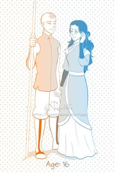 Katara and Aang a little ways down the road
