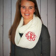 Dress up your wardrobe this fall with a touch of class and sass! This knit infinity scarf is just the right amount of trendy but one that will stay a classic in your closet….make it your own special accessory with your Monogram by I Flew the Nest  $29